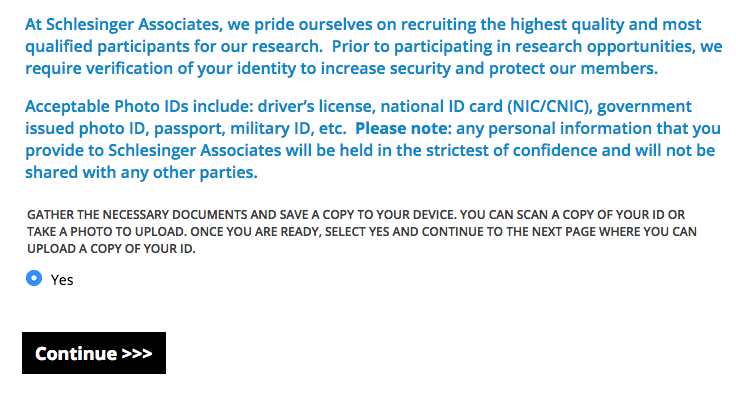 Inspired Opinion registration process - acceptable ids