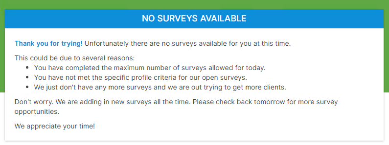 No survey available notification