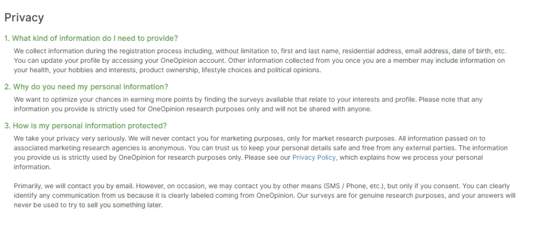 Screen shot of OneOpinion Privacy Policy