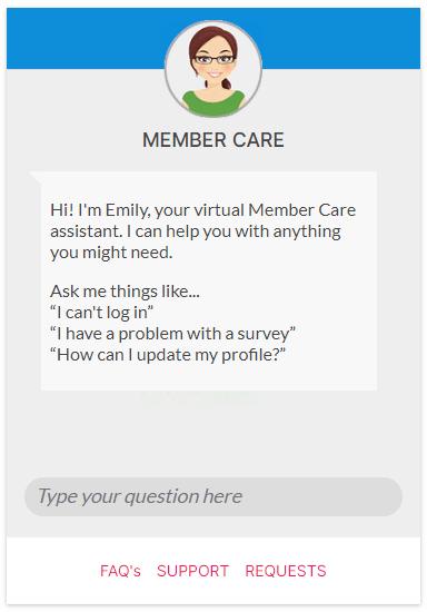 OneOpinion member care panel screenshot