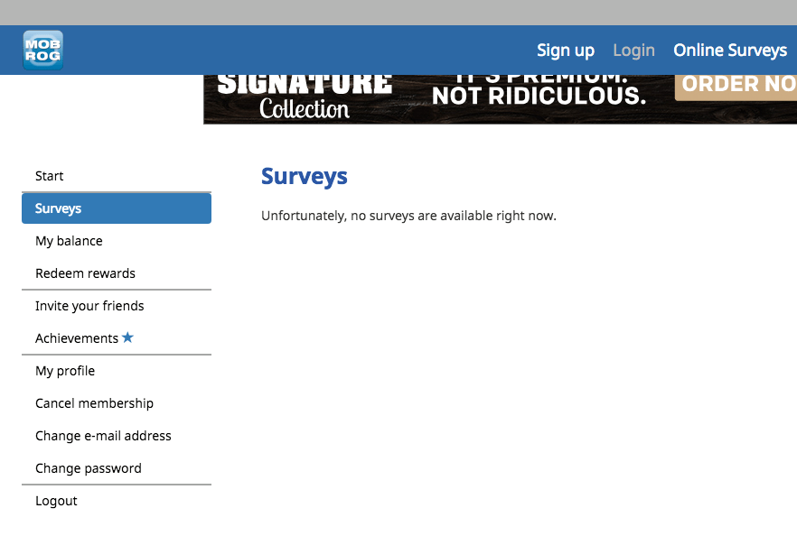 Screen shot of panel - no survey available