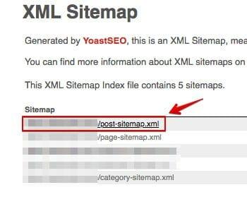 Yoast - post sitemap